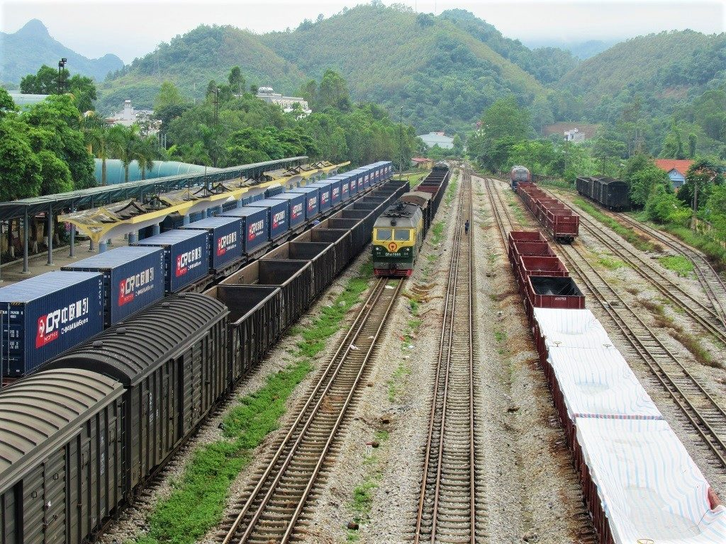 Freight trains waiting at Dong Dang Station, Vietnam