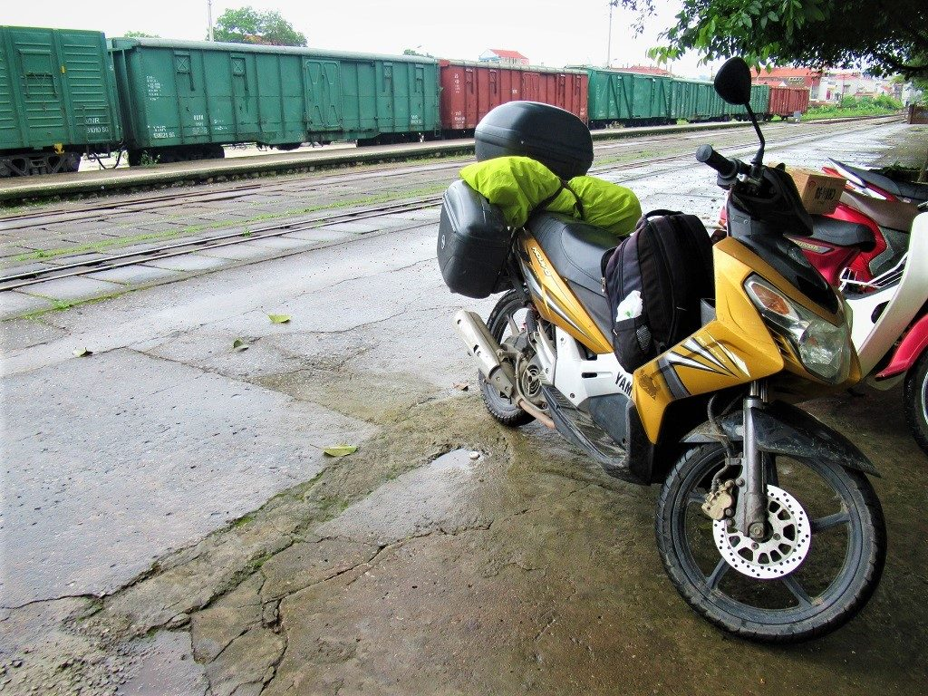 My motorbike on the platform at lang Son train station, Vietnam