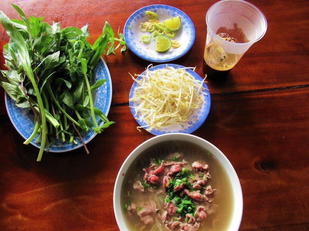 A bowl of noodle soup & fresh coffee, Dak Nong Province, Vietnam