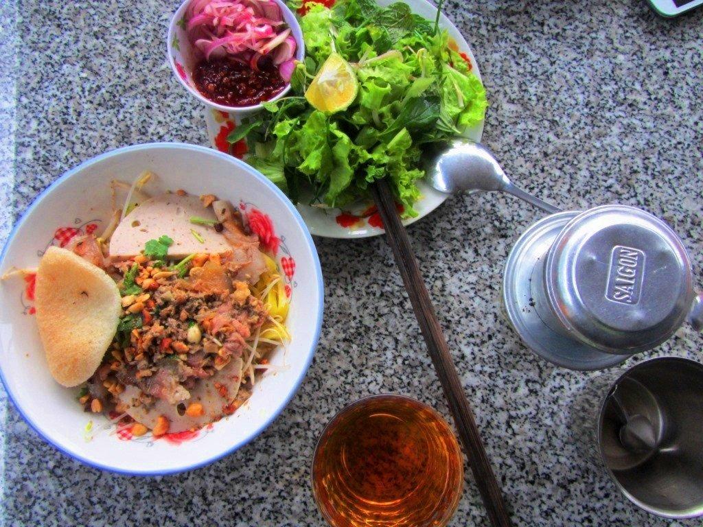 A bowl of mì quảng noodles, Vietnam
