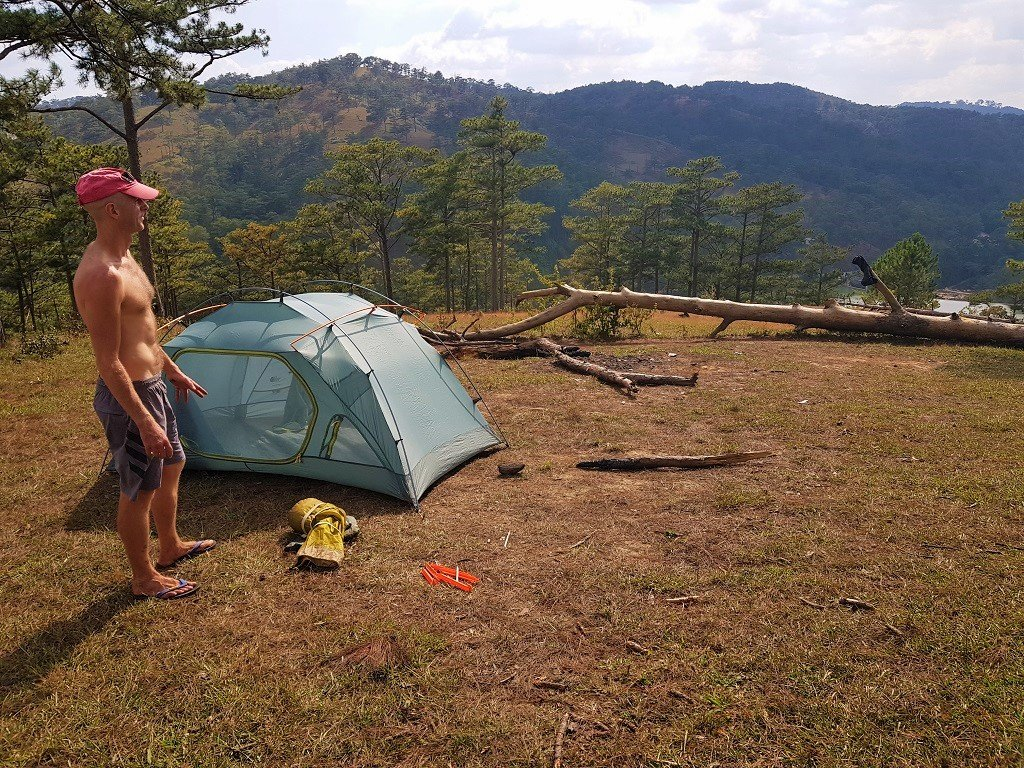 Pitching the tent, Dalat, Vietnam