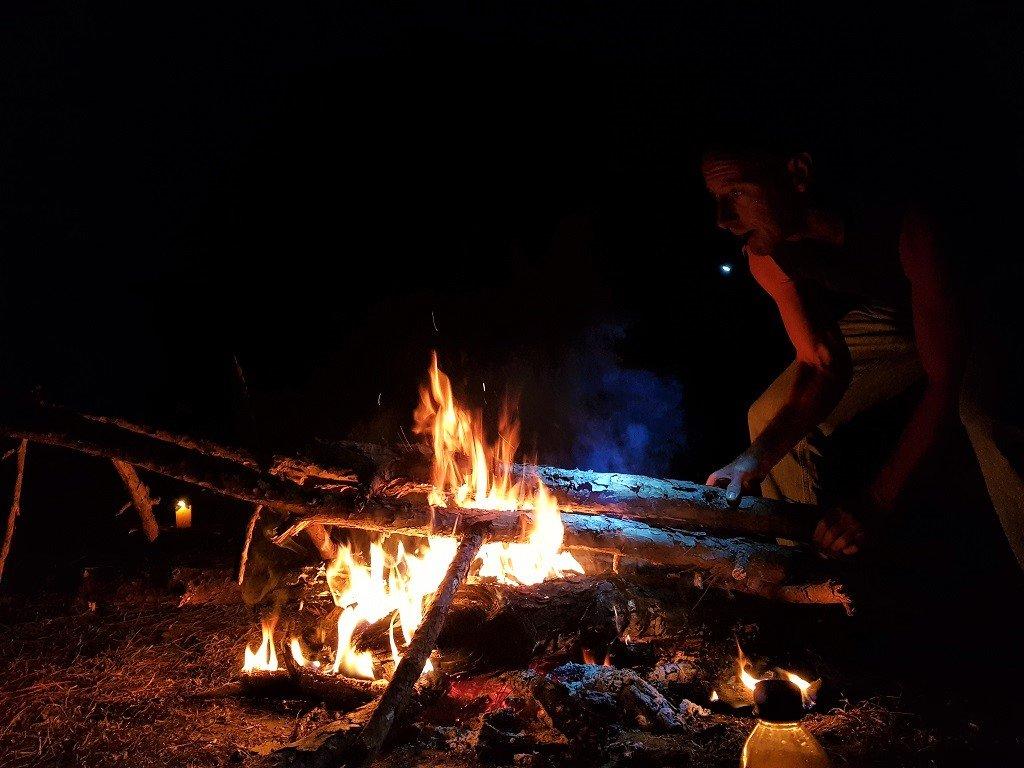 Tending to the campfire, Dalat, Vietnam