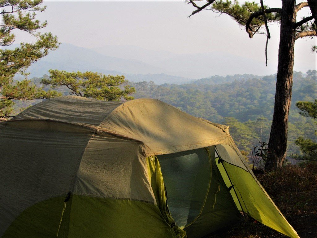 My tent in the pine forests, Dalat, Vietnam