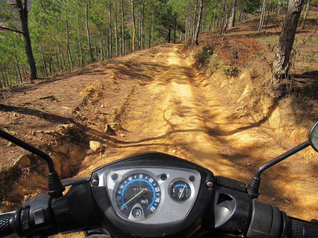 Riding dirt tracks into the pine forests, Dalat, Vietnam