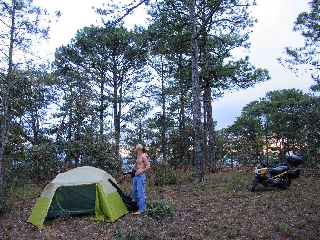 Setting up camp, Dalat, Vietnam