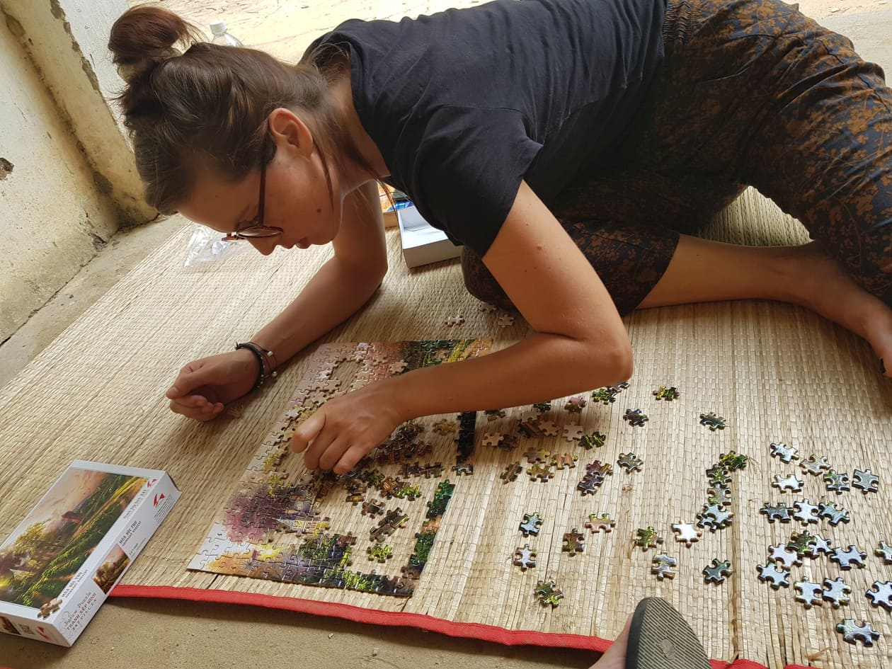 Playing games & puzzles, COVID-19 quarantine facility, Vietnam