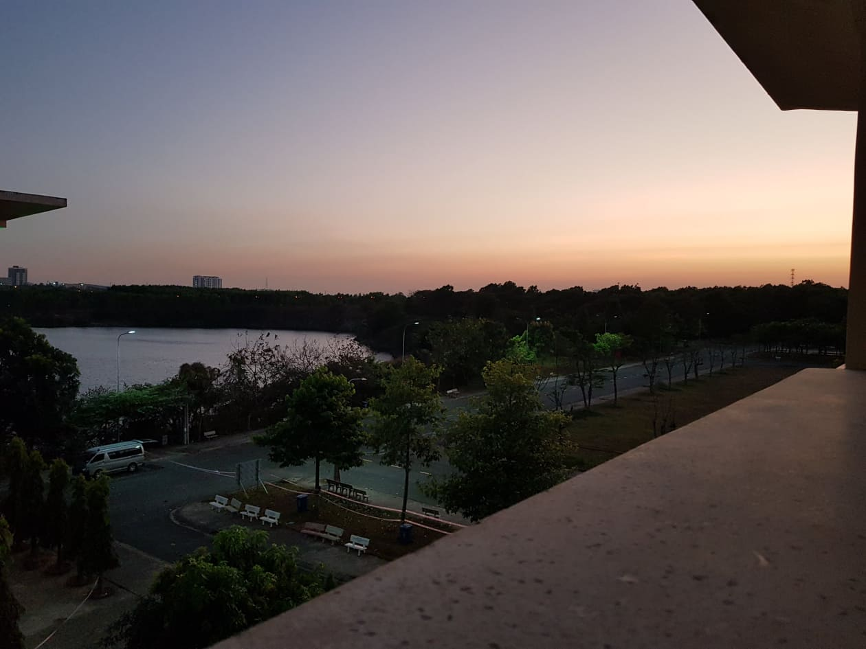 Sunset over the outside world, COVID-19 quarantine facility, Vietnam