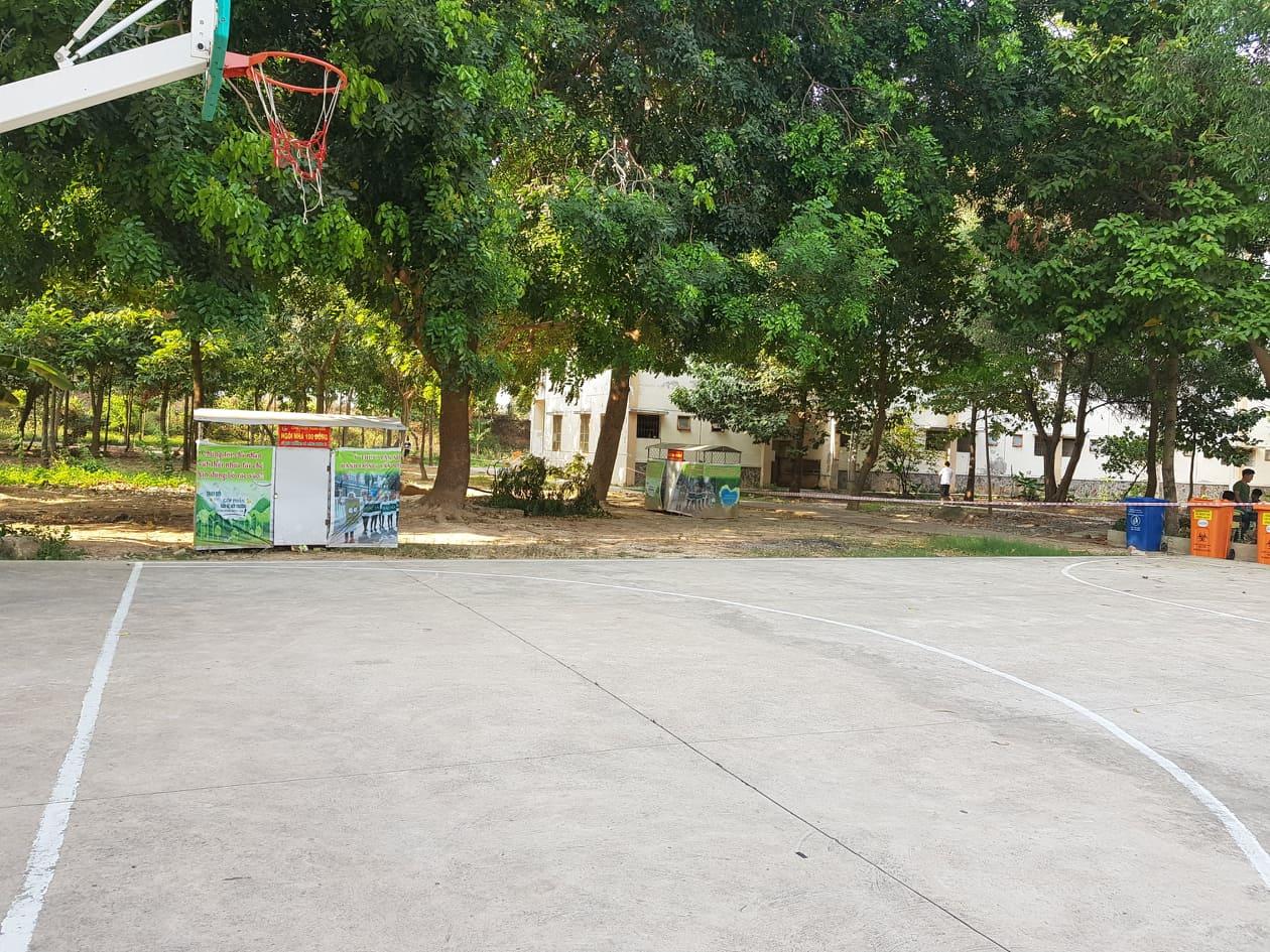 Concrete courtyard, COVID-19 quarantine facility, Vietnam