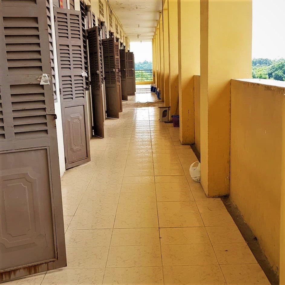 Corridor of dormitories, COVID-19 quarantine facility, Vietnam