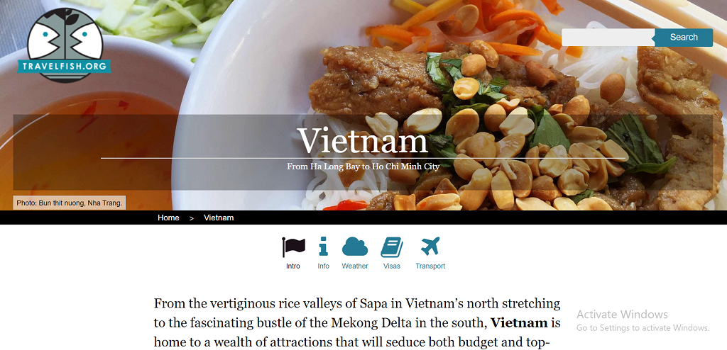 Travelfish Vietnam homepage