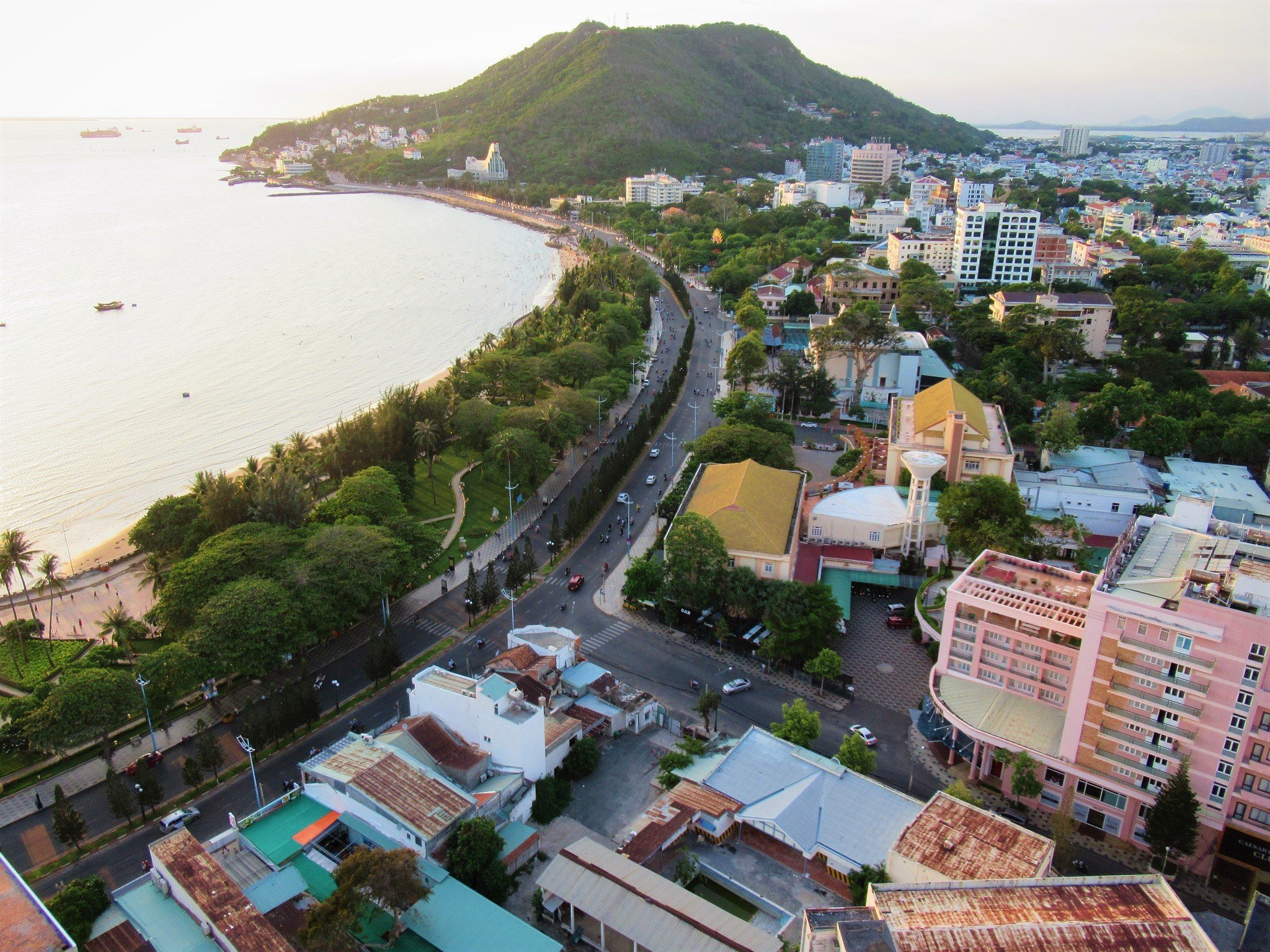 Vung Tau's Bai Truoc seafront seen from Breeze Bar at Fusion Suites