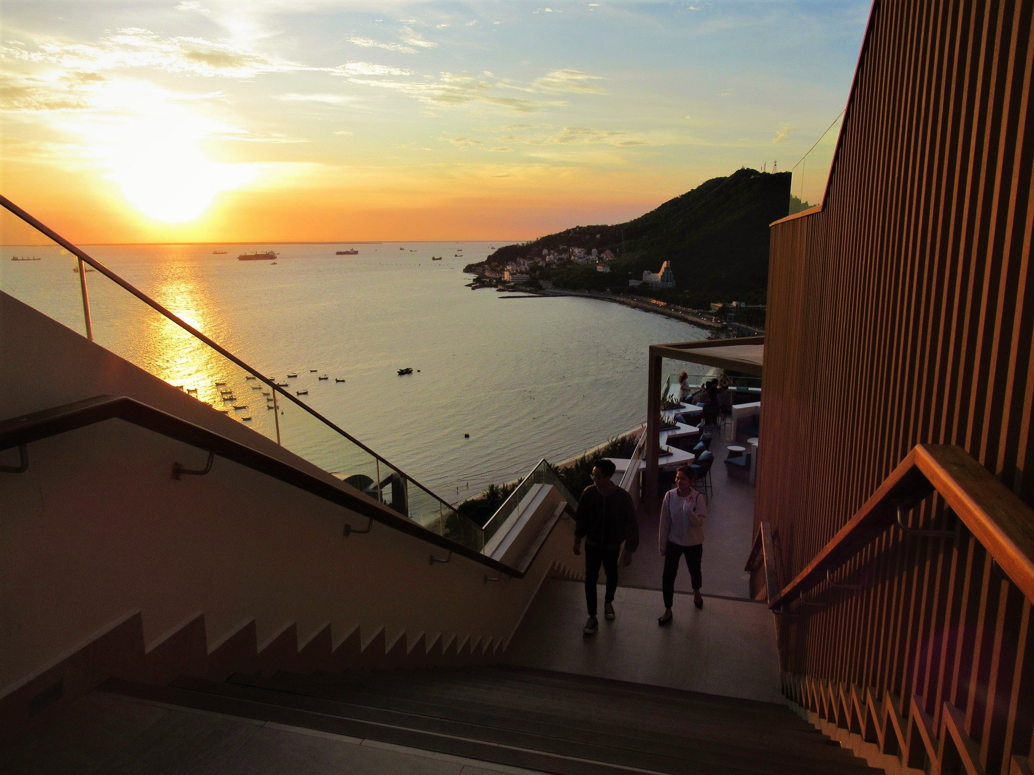 Stairs up to Breeze Bar on the rooftop at Fusion Suites Vung Tau