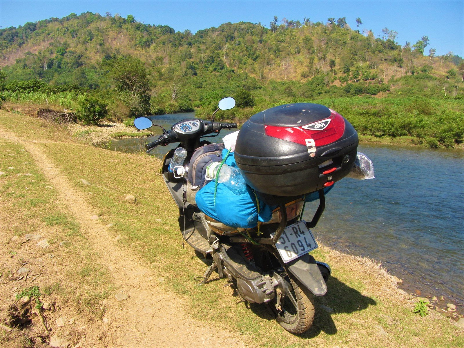 Road to wild camping on the La Nga River, Vietnam