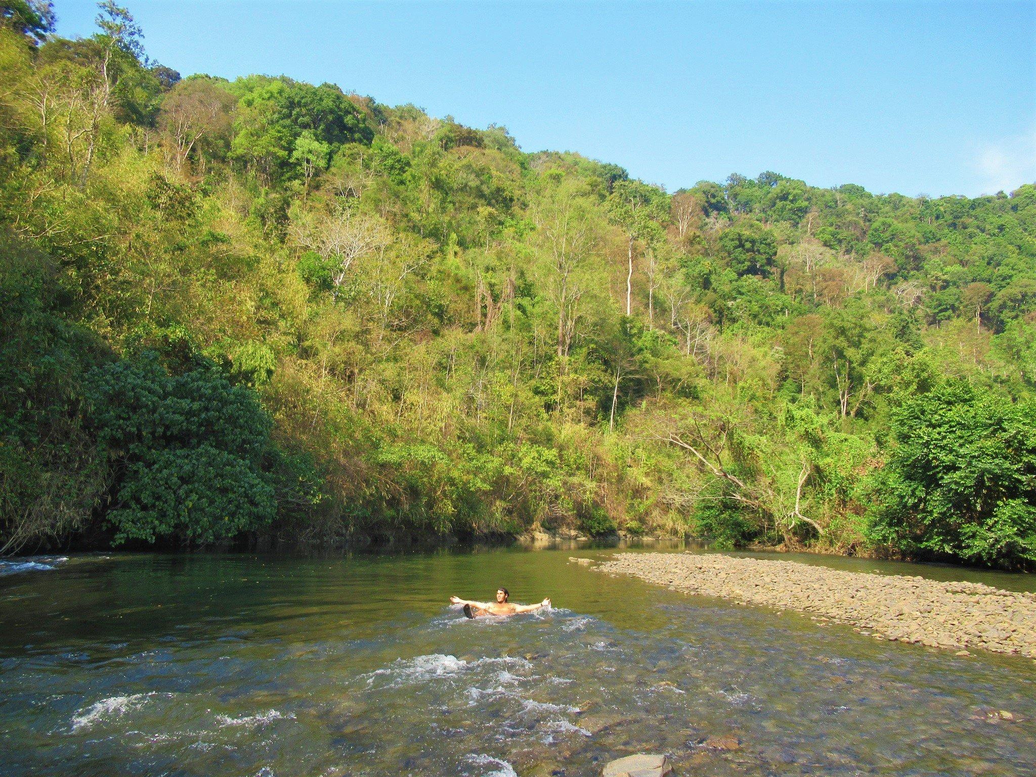 Wild camping on the La Nga River, Vietnam