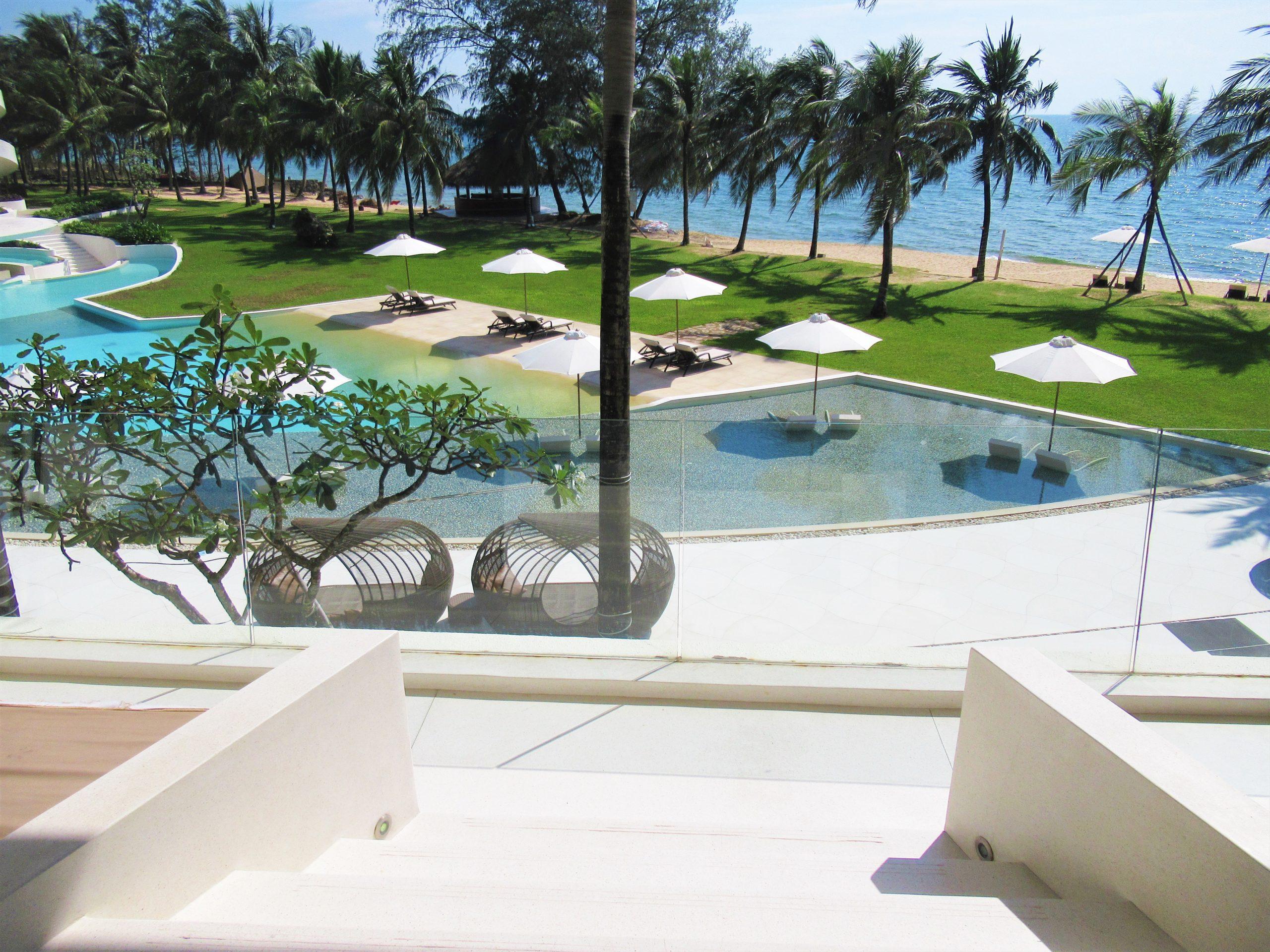 Balcony of guest room, The Shells Resort, Phu Quoc Island, Vietnam
