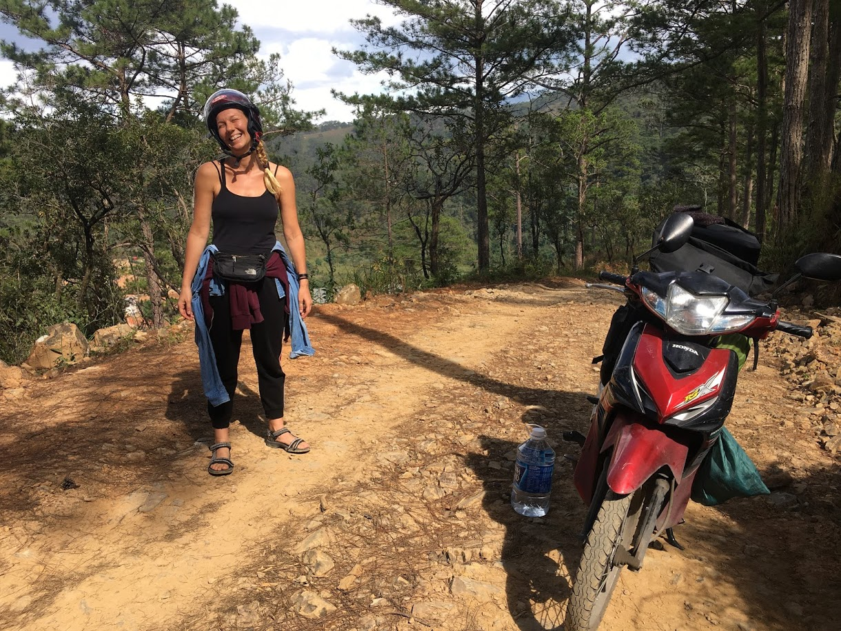 Riding through the forests in search of a campsite