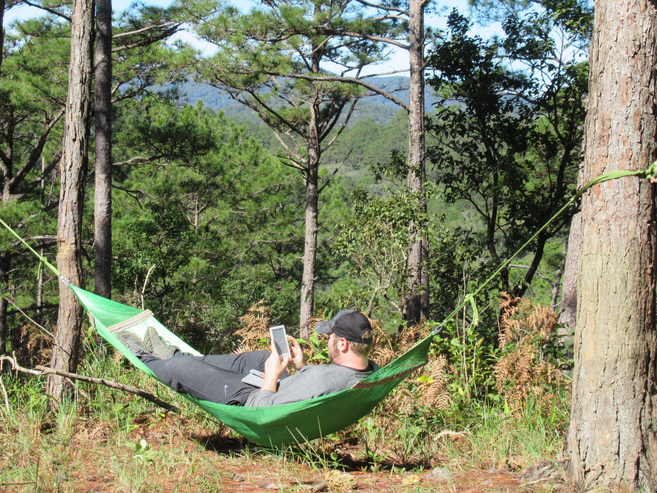 Reading in the hammock