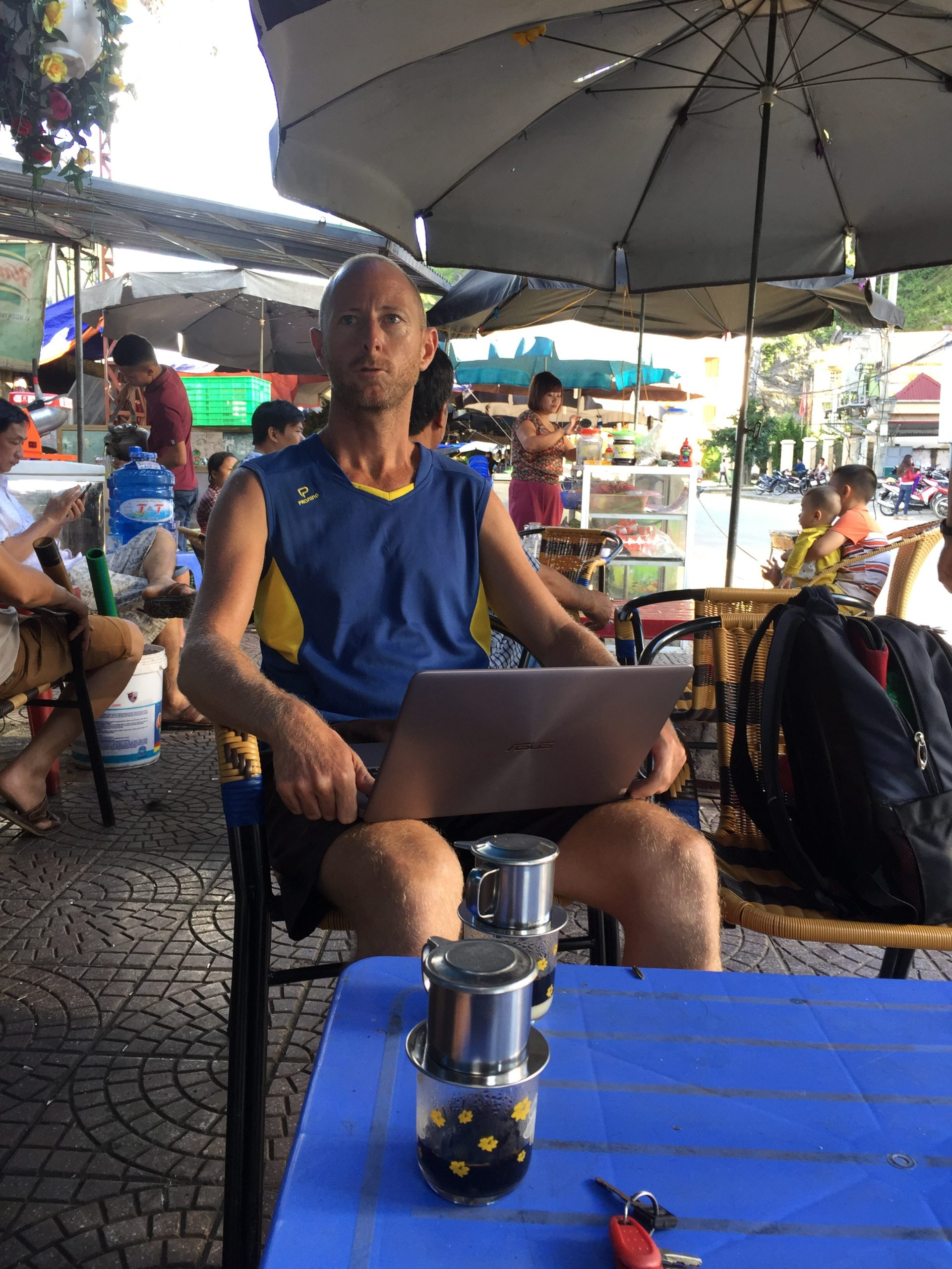 Me working on the website at a cafe in Meo Vac, Ha Giang Province