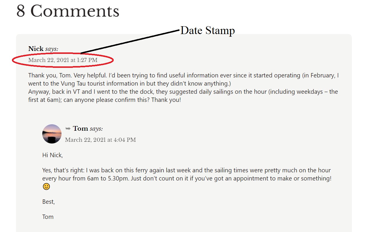 Screenshot of comments thread section on post & date stamp