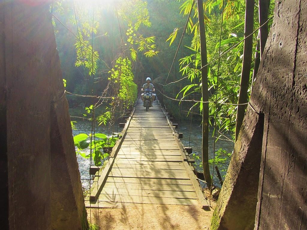 Crossing the bridge to Panhou Ecolodge