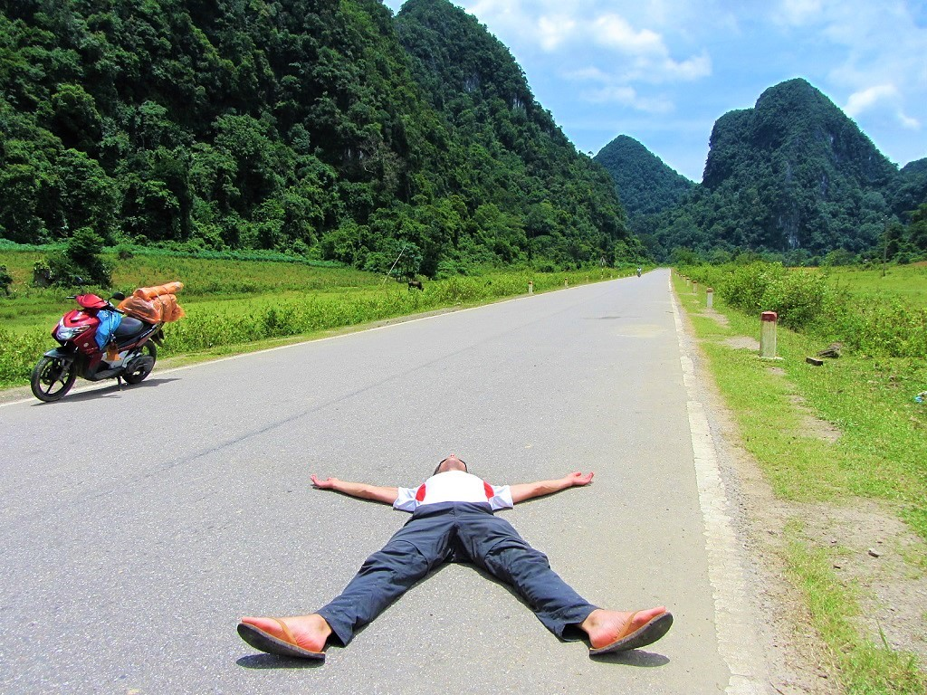 Relaxing on the deserted Western Ho Chi Minh Road, Central Vietnam
