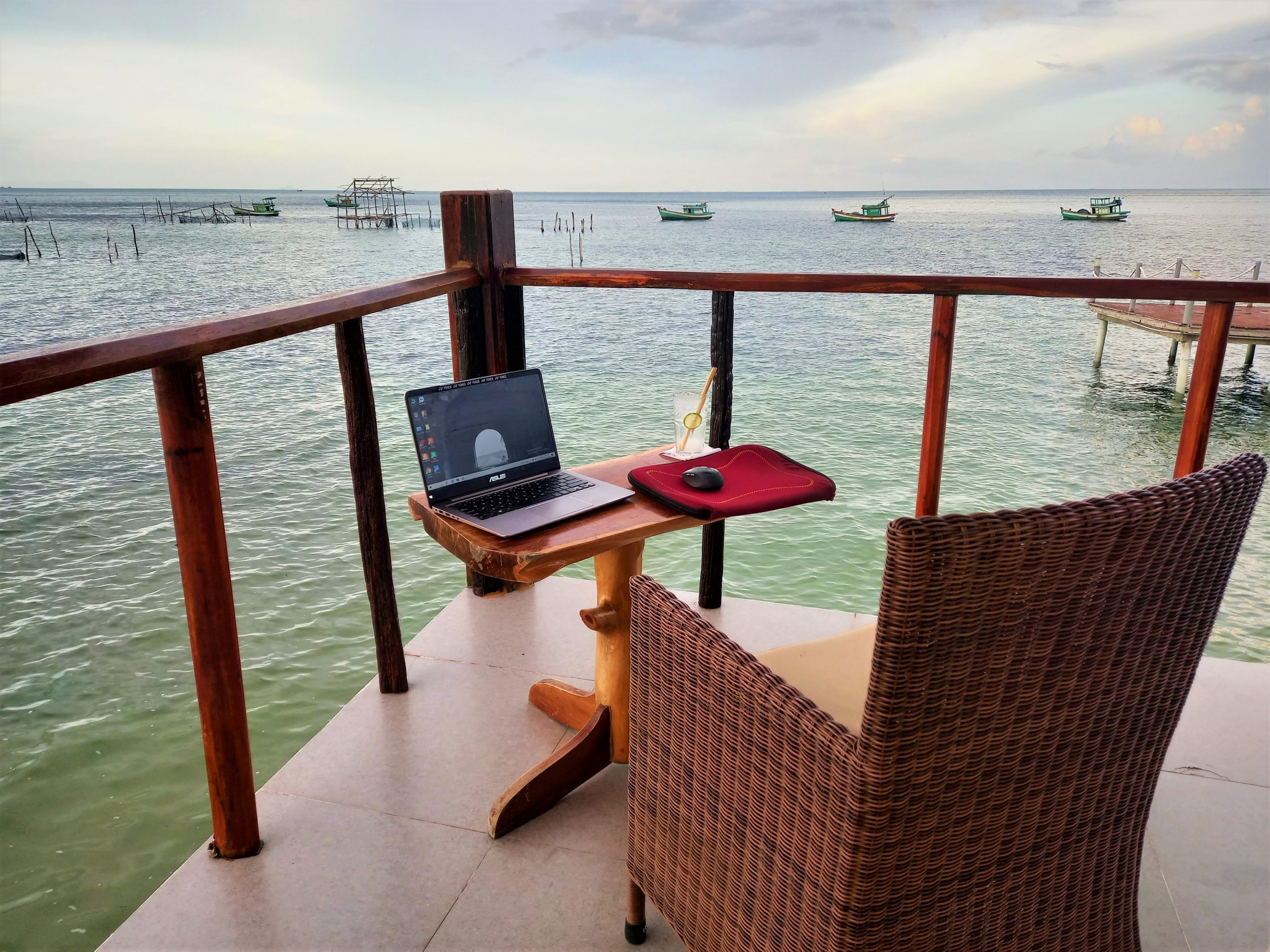 A nice place to work, on the balcony of a Sea Bungalow