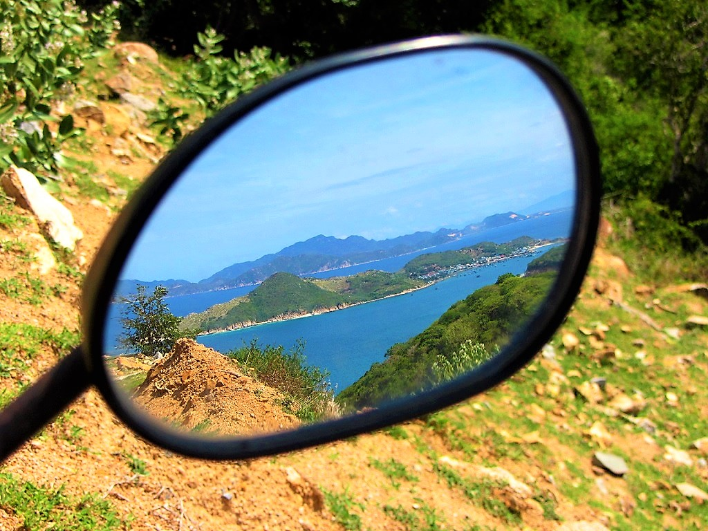 Always check your mirrors, especially on the Nui Chua Coast Road, south-central coast