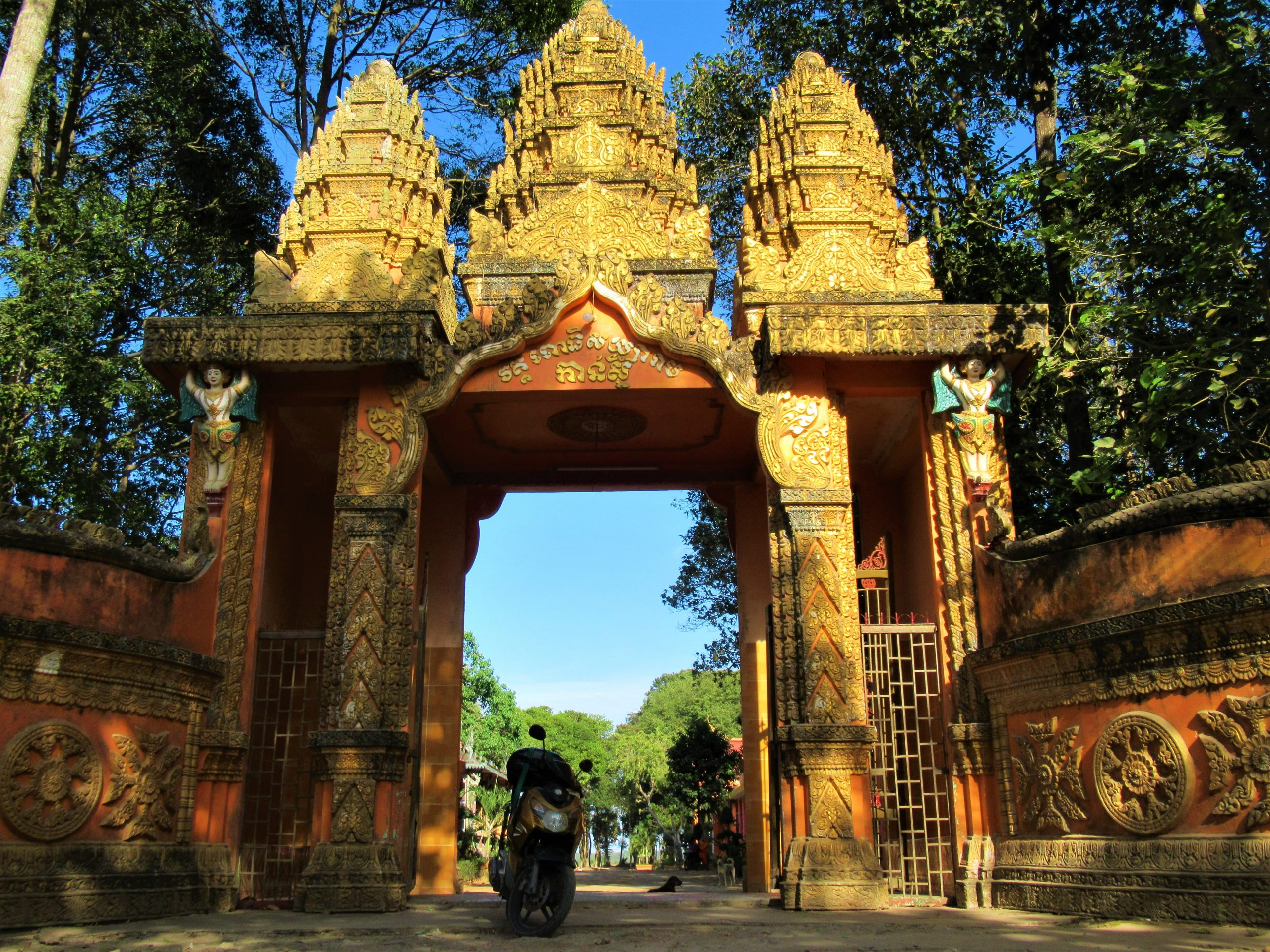 At the entrance to a Khmer temple in Tra Vinh, on the Temple-Hopping Loop, Mekong Delta