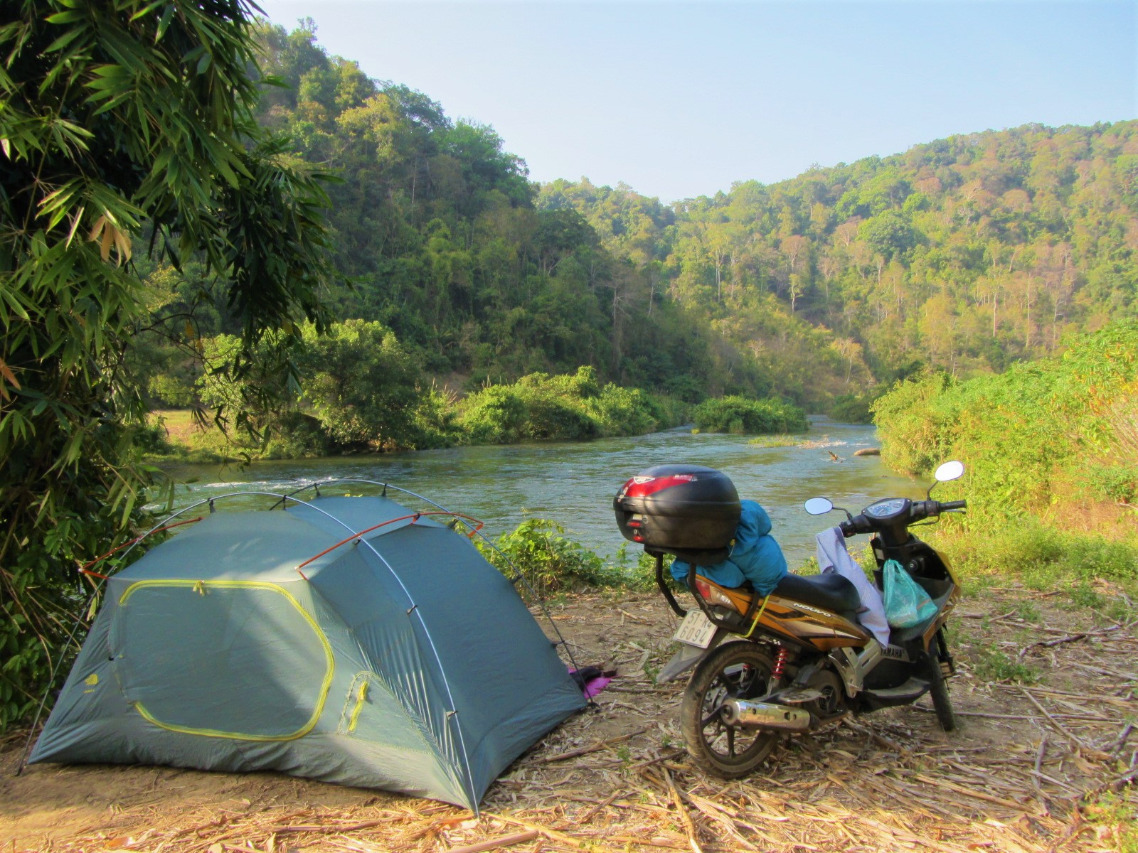 Motocamping on the La Nga River, south-central Vietnam