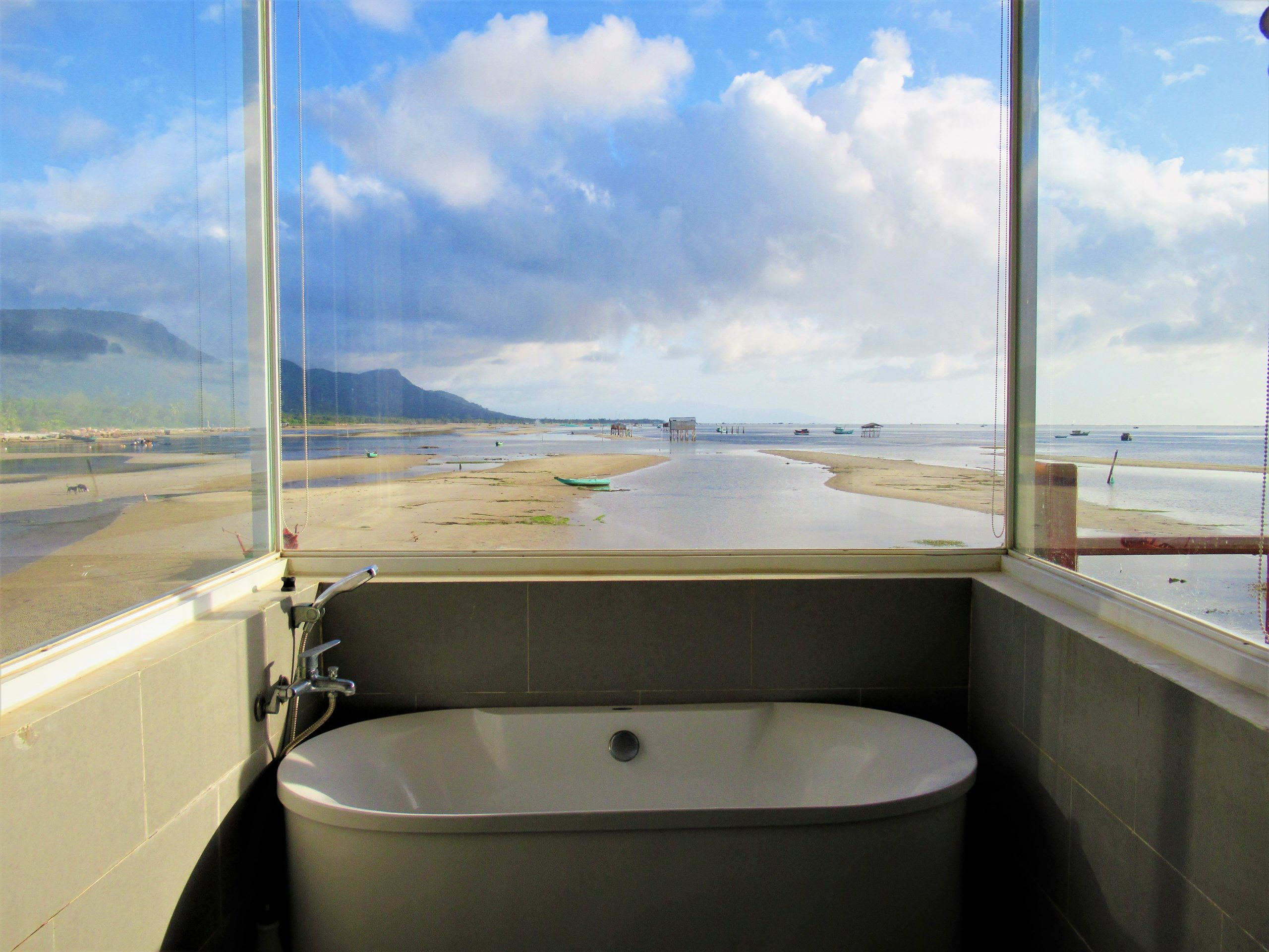 View from the bathroom of a Sea Bungalow at The Pier