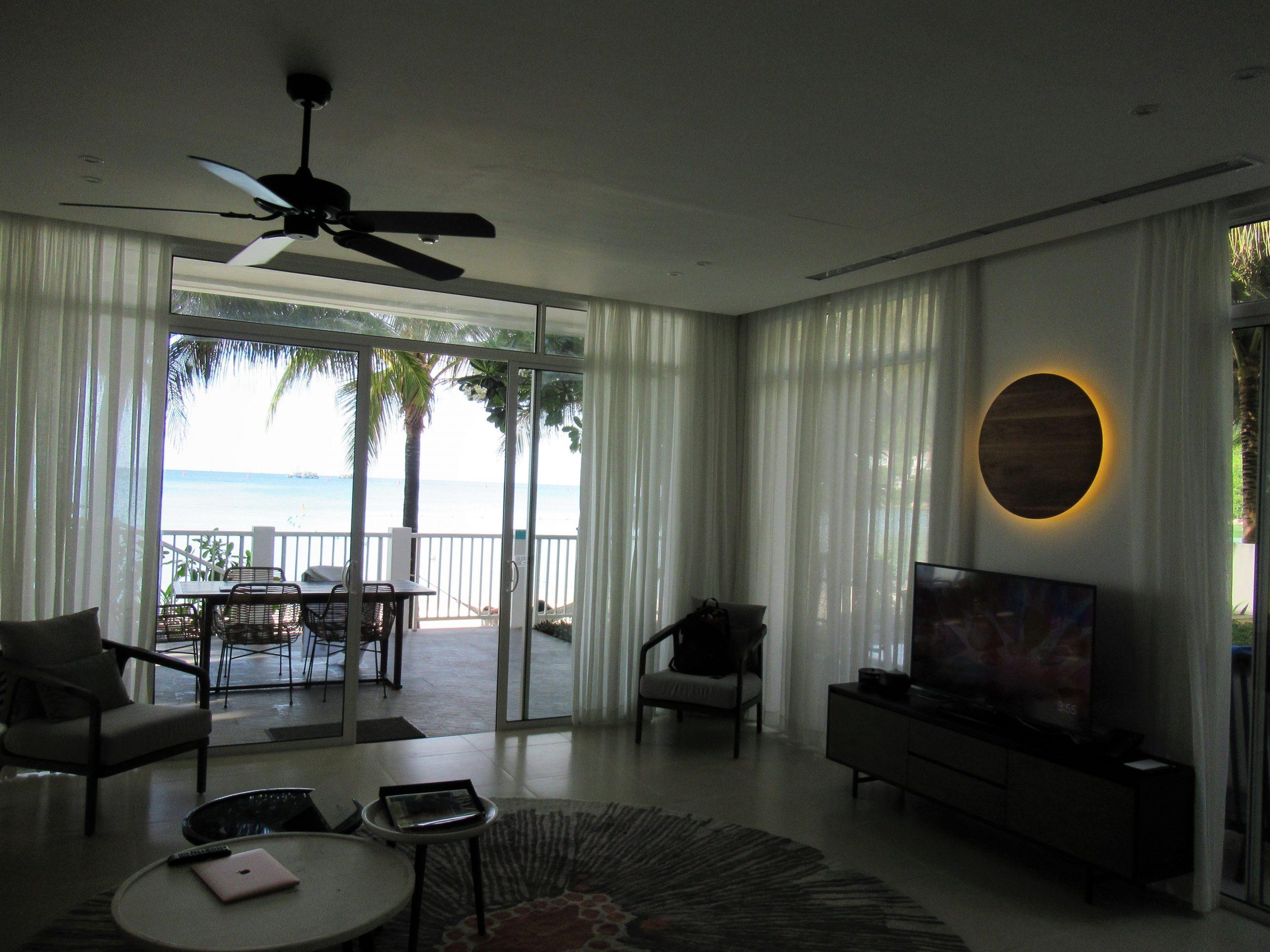 Living room of Beachfront pool villa at Premier Village Resort, Phu Quoc Island, Vietnam