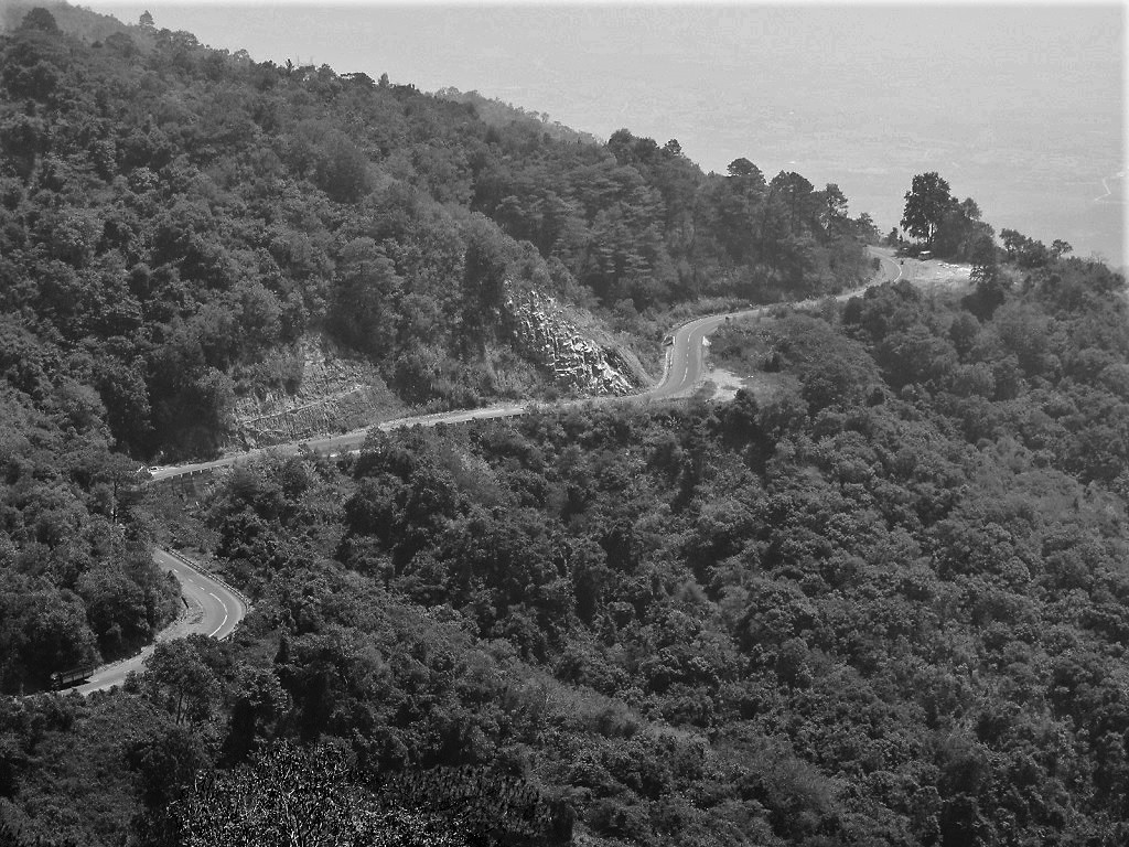 The Ngoan Muc Pass cutting through the forests on the Tet Classic Route, south-central Vietnam