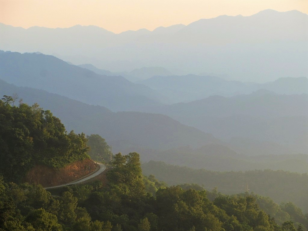 Misty mountains between Cao Bang & Bac Kan provinces on Road QL3, northern Vietnam