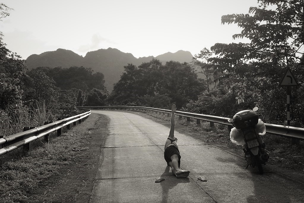 Getting some exercise on the long central stretch of the Ho Chi Minh Road