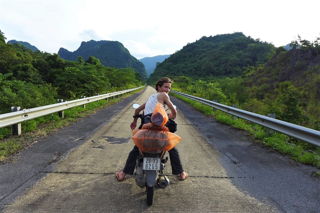 Riding south to north on Uncle Ho's Road